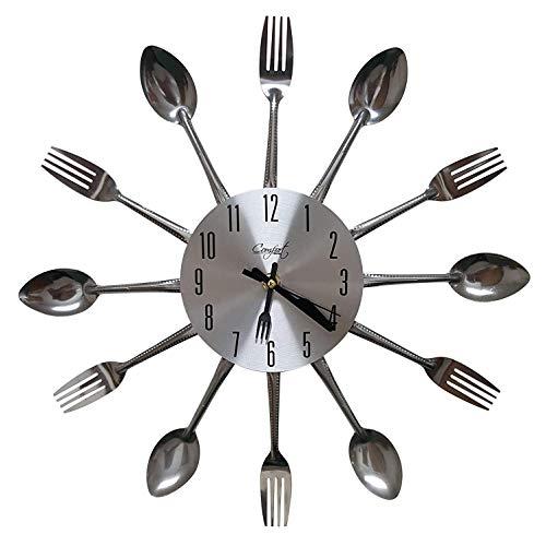 LHKJ Metall Küchenuhr Besteck Uhr Neuheit Dekor Wanduhr Besteckuhr Silber