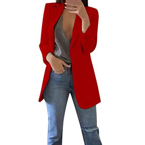Trajes Mujer Invierno Otoño 2019 SHOBDW Liquidación Venta Abrigos Mujer Elegantes Color Sólido Chaqueta Mujer Solapa Cardigan Mujer Largos Rebajas Casual Blazers Mujer Talla Grande(Rojo,5XL)
