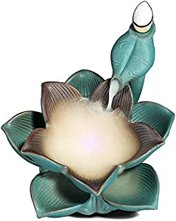 Redson Backflow Incense Burner Holder Lotus with LED Inside Handmade Home Temple Office Tea Room Decor +Free 10pcs Incense Cones(Green)