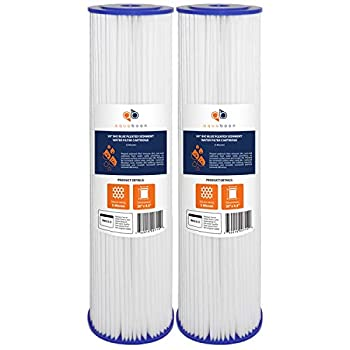 Aquaboon 5 Micron 20  Big Blue Pleated Sediment Water Filter Replacement Cartridge   Whole House Sediment Filtration   Compatible with ECP5-BB AP810-2 HDC3001 CP5-BB SPC-45-1005 ECP1-20BB 2-Pack