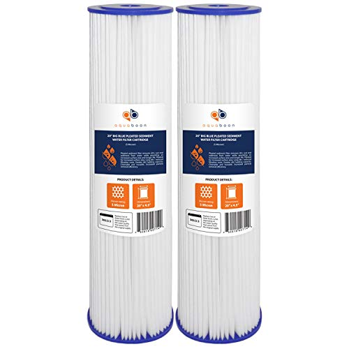 Aquaboon 5 Micron 20' Pleated Sediment Water Filter Replacement Cartridge | Whole House Sediment Filtration | Compatible with ECP5-BB, AP810-2, HDC3001, CP5-BB, SPC-45-1005, ECP1-20BB, 2-Pack