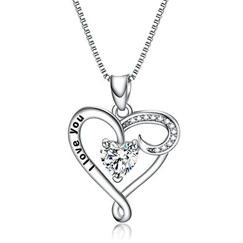Agoble Halskette Damen, Herzkette Silber 925 mit Gravur I Love You Herzform Zirkonia 40+5CM Kastenkette mit Anhänger Geschenk für Frauen Mädchen
