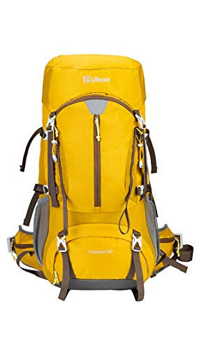 Ubon Hiking Internal Frame Backpack Adjustable Travel Backpack 50L with Rain Cover