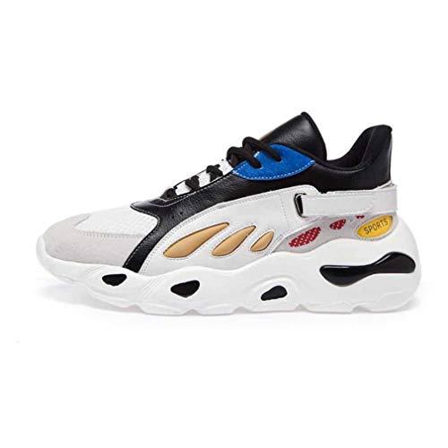 Zapatillas de Deporte Gruesas para Mujer Zapatillas de Deporte al Aire Libre Ligeras y Transpirables con Cordones Colores Mezclados Correa de Hebilla Moda 5 CM Zapatillas de Suela Gruesa