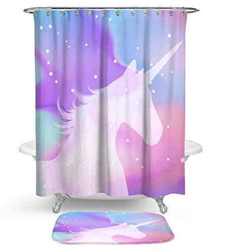 KISY Einhorn-Silhouette Duschvorhang, Bad-Set, Bing Stars Polka Dots Regenbogen Wolken Stoff Duschvorhang mit weicher Baumwolle Badematte Set von 2 maschinenwaschbar