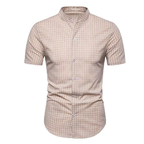 U/A Herren Kurzarmhemd Plaid Shirt Slim Fit Gr. L, gelb