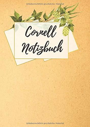 Cornell Notizbuch: blanko Notebook im DIN A4 Format mit schickem Design: Braune Papiertute Design fr die Cornell-Methode