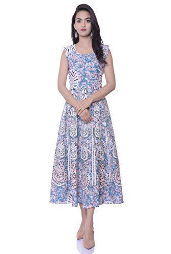 Monique Brand Present Made in India Product Women's Cotton Anarkali Jaipuri Print Long Midi Maxi Dress (Blue, Firozi, Free Size )