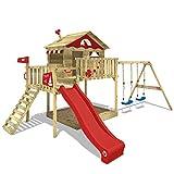 WICKEY Parco giochi in legno Smart Coast Giochi da giardino con altalena e scivolo rosso, Casa su palafitte da esterno con sabbiera e scala di risalita per bambini