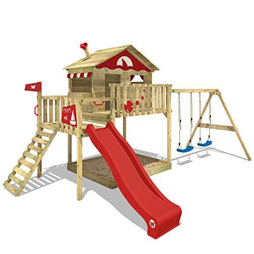 WICKEY Speeltoestel voor tuin Smart Coast met schommel en rode glijbaan, Houten speeltuig, Speelhuis voor buiten met zandbak en klimladder voor kinderen