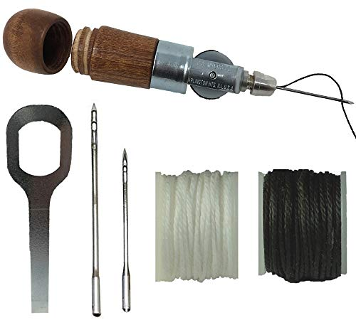Repair Stitch Tool | Sewing Awl for Bounce Houses, Inflatables, Tarps, Leather, Thick Fabric, Shoes, Bags, Belt, Upholstery Repair Kit & Crafts Leather Stitching - MADE IN USA – PROFESSIONAL HEAVY DUT