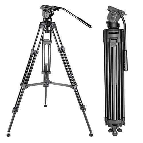 Neewer Professional 61 inches/155 Centimeters Aluminum Alloy Video Camera Tripod with 360 Degree Fluid Drag Head,1/4 and 3/8-inch Quick Release Plate and Bag,Load up to 13.2 pounds/6 kilograms