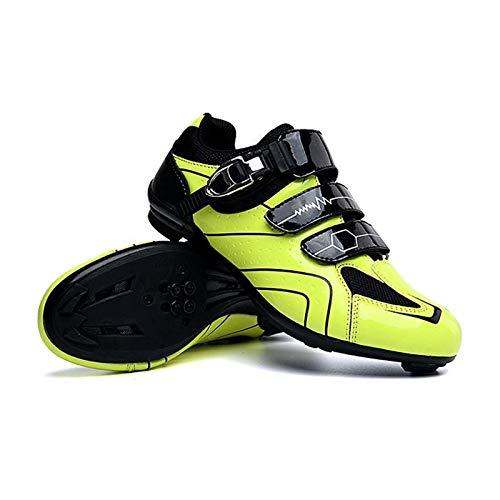 [xinaishan] サイクルシューズ SPD対応 自転車靴 自転車シューズ 耐摩耗性 通気性 MTB自転車 初心者 XNS-568 (イエロー-艶あり, measurement_25_point_5_centimeters)