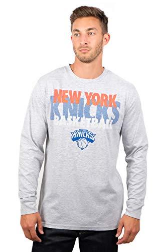 Ultra Game NBA New York Knicks Mens Supreme Long Sleeve Pullover Tee Shirt, Heather Gray, XX-Large