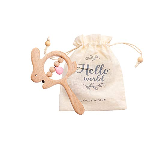Wooden Baby Toys Lovely Animal Shaped Baby Rattles Grasping Toys Montessori Toys for Babies Toddlers,Pink Bell-Rabbit