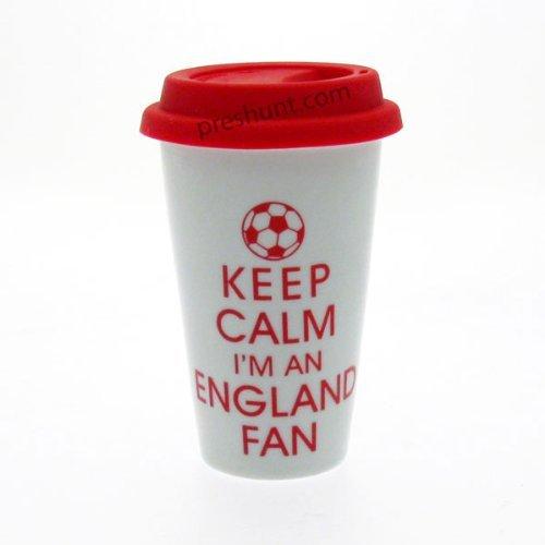 Keep Calm i m An England ventilateur Double Paroi Blanc Mug de voyage en céramique avec couvercle