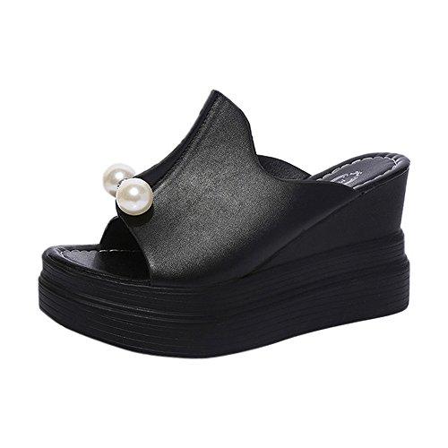 Anliyou Plateau Schuhe Damen Pantoffeln Sommerschuhe mit Künstlich Leder Perlen Sandalen Sandaletten Keilabsatz Elegant Gothic Gladiator Retro Pumps Rosa Schwarz Weiß Strandmode 2020