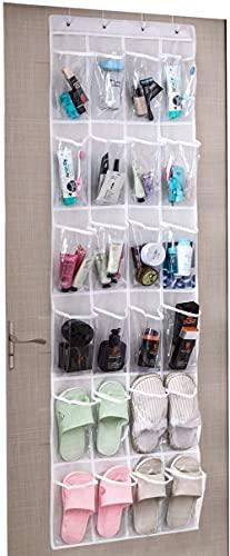 ZAIHW Colgador de Ganchos de Metal sobre la Puerta del baño con 24 Bolsillos Transparentes Organizador de Almacenamiento Colgante Taburete para Cambiar Zapatos