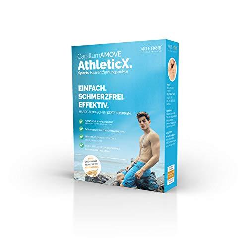 200g Schmerzfreies geruchloses Dusch Haarentfernungcreme Pulver mit pflegender Weizenstärke - Capillum AMOVE AthleticX für extra weiche Haut (Körper & Intimbereich)
