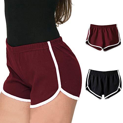 iMixCity Damen Sport Shorts Retro Shorts Aktiv Yoga Shorts Hose mit Farbig Abgesetzen Rändern (EU XL=Tag 3XL (Taille: 68-74cm), C# Schwarz + Weinrot)