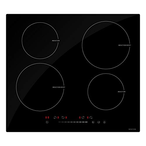 NOXTON 4 Zone Induction Hob Built-in Domino Electric Hobs Cooktop 60cm Black Glass with Sensor Slider Control Child Safe Lock for 220V—240V ClASS A+