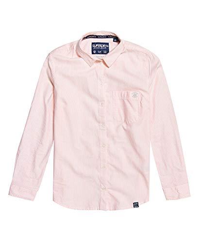 Camisa Superdry a Rayas Oxford para Mujer 14 Rosa