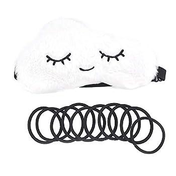 PORA Plush Sleep Eye Mask Cloud Blind-Folder Soft Mask with Adjustable Strap Triple Layer Night Shade Blackout Washable Eye-Cover Eyelash for Women Men Travel Snap with 10 Rubber Bands