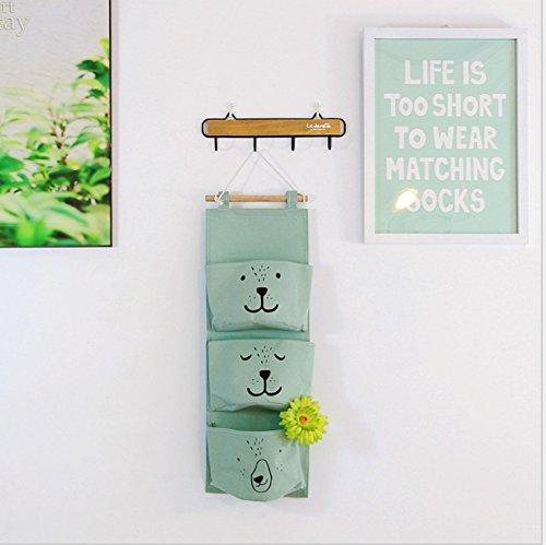 E EBETA Hängende Tasche Aufbewahrungstasche Hängeorganizer Wand Tür Organizer Utensilientasche 3 Fächer (Grün)