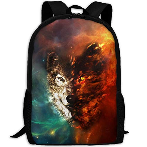 LOVE GIRL Space Meteoric Star Fire Ice Wolf Adult Travel Backpack School Bookbag Casual Daypack Oxford Outdoor Laptop Bag Computer Shoulder Bags