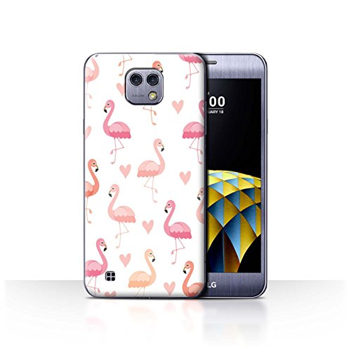 Stuff4® Phone Case/Cover/Skin/LG-CC/Leuke Flamingo Cartoon Collection LG X Cam/K580 Roze hartpatroon.