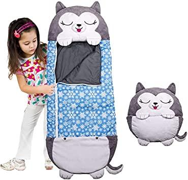 KOP Schlafsäcke für Kinder Kinder Tierschlafsack 2 in 1 Fun Kissen umgewandelt in Schlafsäcke große Größe geeignet für Kinder unter 6 Jahren M marineblau