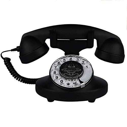 LDDZB Retro teléfono fijo rotatorio dial con función de repetición en forma de Abs cuerpo francés antiguo hogar con cable fijo fijo decoración del escritorio del hogar