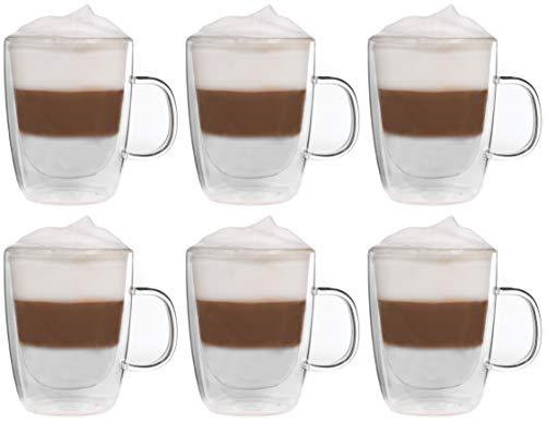Snobby Feelino - Juego de 6 tazas de doble pared (450 ml, efecto flotante)