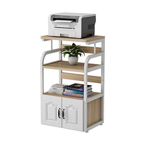 4-Layer Floor-Standing Printer Stand,Adjusting Feet Double-Door Fax Machine Storage Rack, Metal Frame Edge Fixed Printer Desk(Beige)