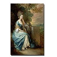 Qqwer ヨーロッパの裁判所の女性の油絵はキャンバスに印刷しますセオドアジェリコー世界的に有名な絵画レプリカ壁の写真家の装飾用-60X80Cmx1Pcs-フレームなし