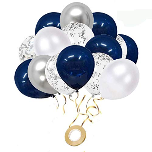Navy Blue and Silver Confetti Balloons, 50 pcs 12 inch White and Silver Metallic Party Balloons for Birthday Party, Wedding & Anniversary, Graduation, Baby Shower Decoration