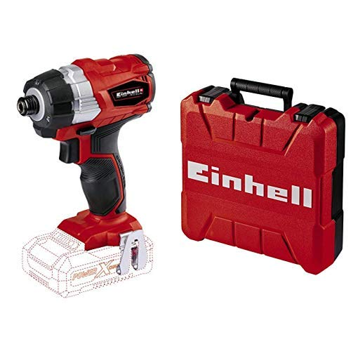 Einhell TE-CI 18 Li BL Solo Power X-Change Cordless Brushless Impact Driver, 18 V, Red with Einhell 4530045 E-Box S35/33 Storing Tools and Accessories