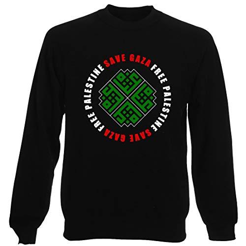 T-Shirtshock Rundhals-Sweatshirt fur Mann Schwarz TM0581 Save Gaza Free Palestine Gaza Edited