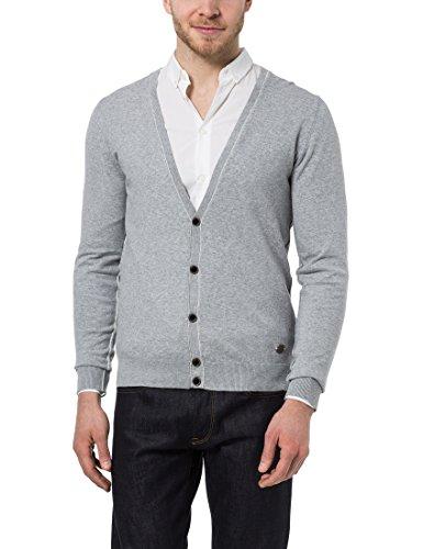 James Tyler Cardigan da uomo, giacca in maglia con lista a bottoni, in delicati colori estivi, Grigio, XL