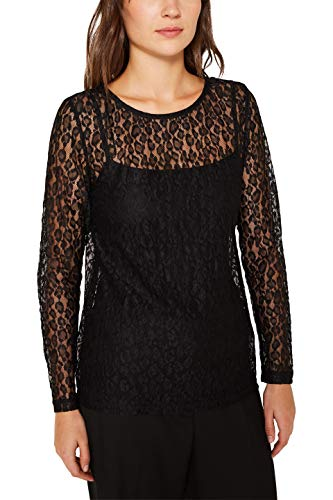 Esprit 119EE1K012 Camiseta de Manga Larga, 001/negro, M para Mujer