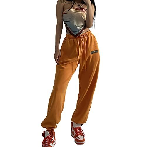 OOGUDE Pantalones deportivos para mujer con elástico en la cintura para entrenamiento deportivo y correr, naranja, S