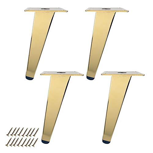 barture Patas de metal para muebles, 4 piezas reemplazables con almohadillas para pies para proteger eficazmente el suelo de sofás, mesas, gabinetes (color: oblicuo, tamaño: 15 cm)
