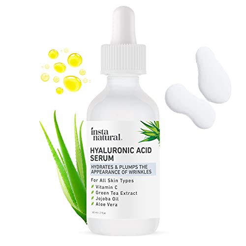 InstaNatural - Hyaluronic Acid Serum - With Vitamin C, Organic & 100% Pure Ingredients for Dry Skin, Wrinkle, Fine Line, Eye Bag Defense - Advanced Anti Aging Moisturizer for Men & Women - 2 oz