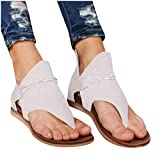 Aniywn Sandals for Women,Retro Bohemian Casual Sandals Flat Clip Toe Ankle Boots Beach Shoes T-Strap Roman Open-Toe Sandals White