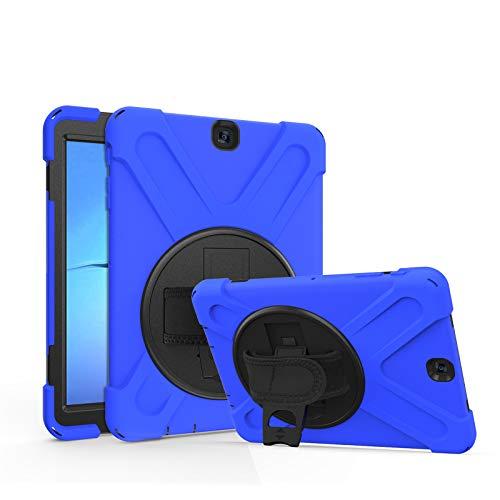 Funda para Galaxy Tab S2 9.7-Pulgadas 2015 (SM-T810/T815/T813), Cubierta Protectora Completa a Prueba de Golpes de Tres Capa con 360° Rotativo Soporte, Correa de Mano/Hombro,Blue