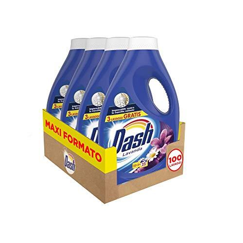 Dash Detersivo Liquido Lavatrice, 100 Lavaggi (4 x 25), Profumo di Lavanda, Maxi Formato, Pulizia Profonda, Per Tutti I Capi