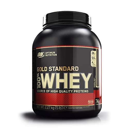 Optimum Nutrition Gold Standard 100% Whey Protéine en Poudre avec Whey Isolate, Proteines Musculation Prise de Masse, Double-Rich Chocolat, 74 portions, 2.27 kg