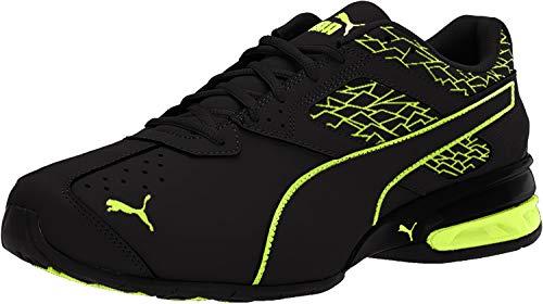 PUMA Men's Tazon 6 Fracture FM Sneaker, Black Safety Yellow, 9.5 M US