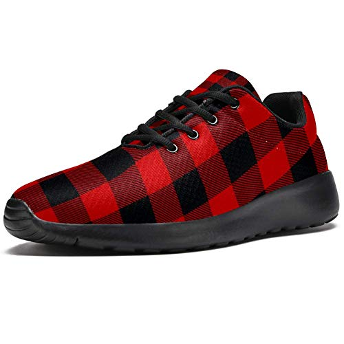 TIZORAX Zapatillas de correr para hombre, color rojo y negro, cuadrado