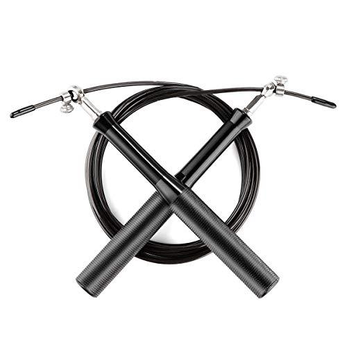 MONOJOY Springseil, schnell Rope Springseil mit Gut Qualitativen Kugellagern, Länge einstellbar mit 360 Grad Kugelgelenk und GRATIS Transporttasche | Hüpfseil, Seilspringen, Training und Fitness